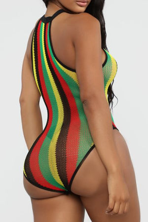 Wearvip Bohemian Striped Print Tissue Hollow Out Halter One-Piece
