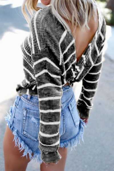 Wearvip Casual Long Sleeve Backless Striped Print Sweater