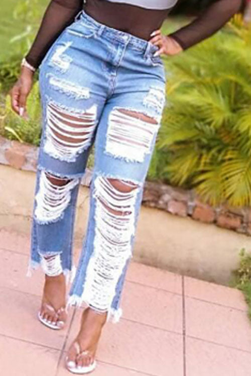 Wearvip Casual Mid Rise Ripped Mill White Loose Jeans
