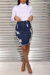Wearvip Casual High Elastic Broken Hole Denim Skirt