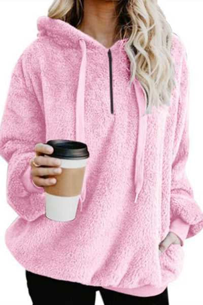 Wearvip Casual Solid Color Fluffy Hooded Hoodies