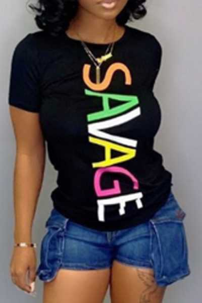 Wearvip Casual Round Neck Rainbow Color Letters Print T-shirt