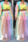 Wearvip Casual Gradient Print See-Through Skirt