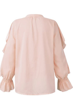 Wearvip Casual V-Neck Solid Color Flounce Trim Shirt