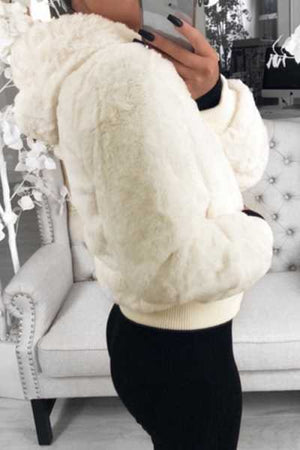 Wearvip Casual Solid Color Hooded Zip Up Fluffy Faux Fur Coat