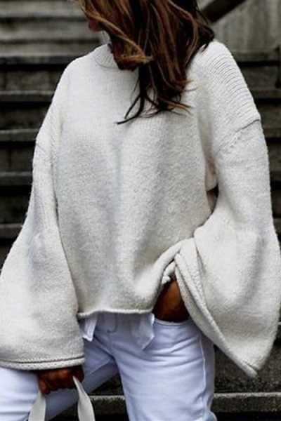 Wearvip Casual Solid Color Round Neck Loose Sweater