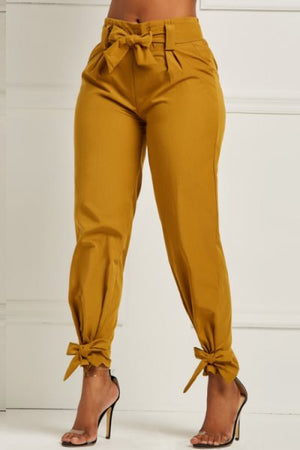 Wearvip Casual Solid Color High Rise Lace Up Pencil Pants
