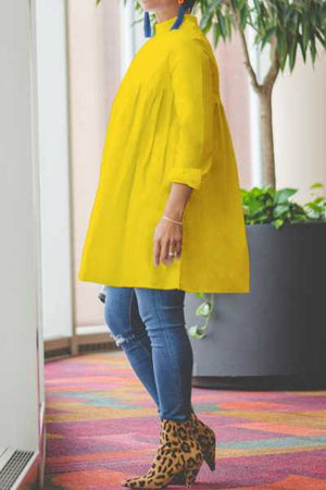 Wearvip Casual Solid Color Long Sleeve Loose Blouse