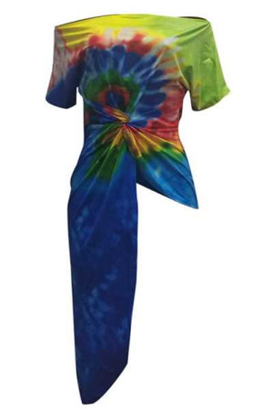Wearvip Casual Off Shoulder Asymmetrical Hem Tie Dye Print T-shirt