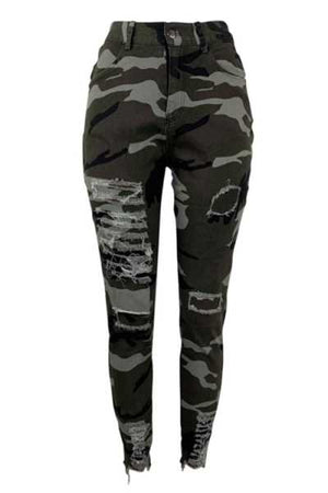 Wearvip Casual High Elastic Broken Holes Camouflage Print Jeans