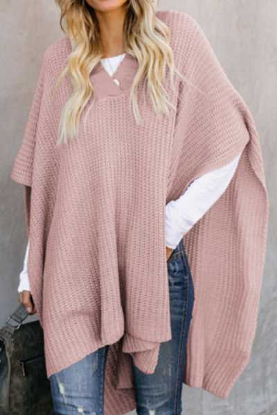 Wearvip Casual Solid Color Sweater Cloak