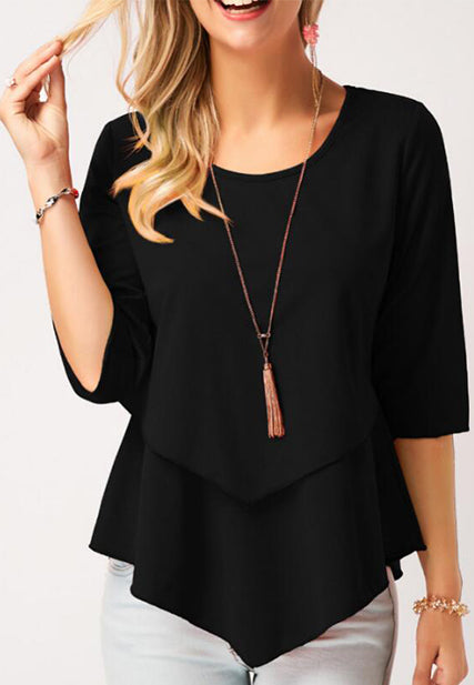 Round Neck Asymmetric Hem Layered Blouse