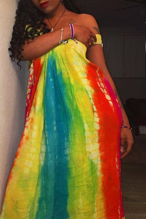 Wearvip  Bohemian Tie Dye Print Gradient Dress