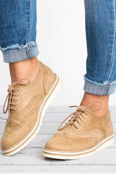 Wearvip Casual Comfy Lace-up Perforated Shoes