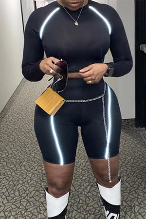 Wearvip Sporty Reflective Strip Long Sleeve Short Sets