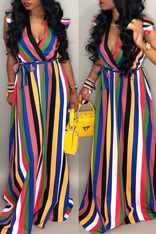 Wearvip Bohemian Flounce Trim Striped Print Maxi Dress