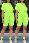 Wearvip Sporty Solid Color Biker Shorts Sets