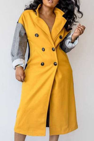 Wearvip Casual Color Patchwork Woolen Coat