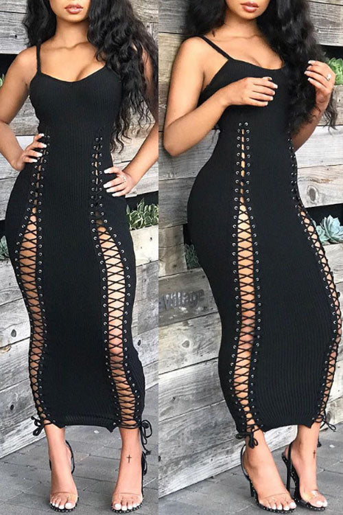Wearvip Party Lace-up Maxi Dress