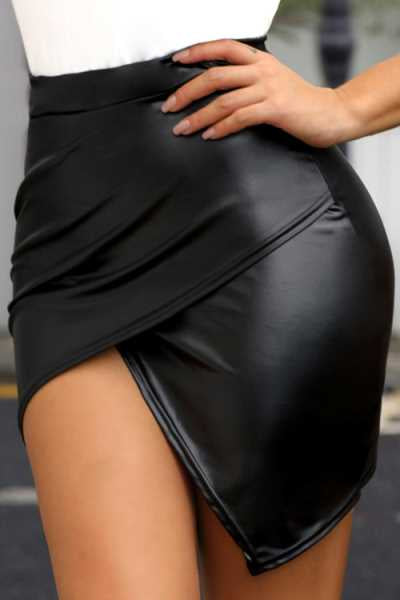 Wearvip Casual Asymmetrical Hem Bodycon PU Skirt
