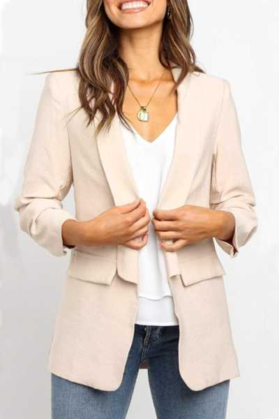 Wearvip Casual OL Solid Color Slim Blazer