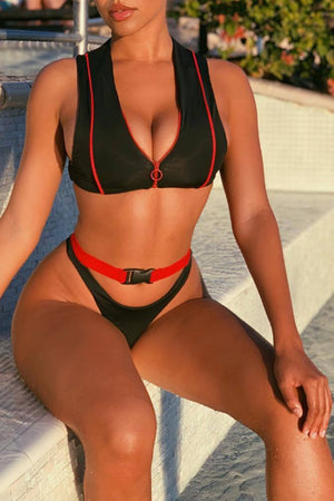 Wearvip Sporty Lace-up Snap Button Triangle Bikini