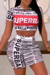 Wearvip Casual Letters Print Skirt Sets