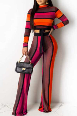 Wearvip Casual Long Sleeve Tie Design Striped Print Pants Sets
