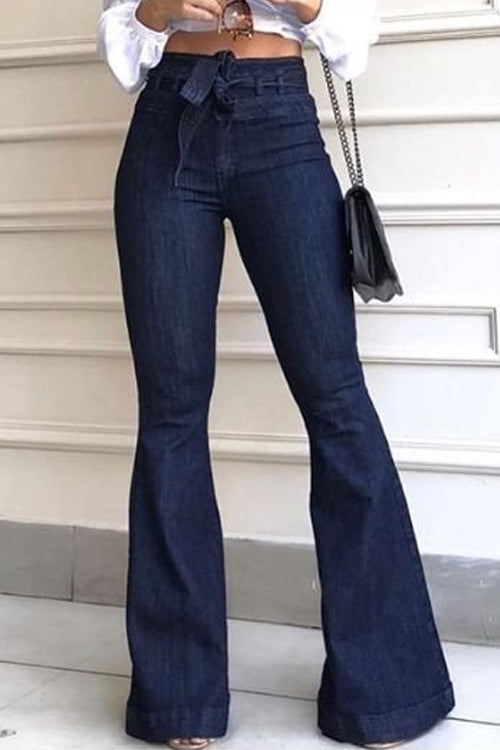 Wearvip Casual High Rise Tie Design Flare Leg Jeans