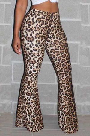 Wearvip Casual High Rise Leopard Print Flare Leg Pants