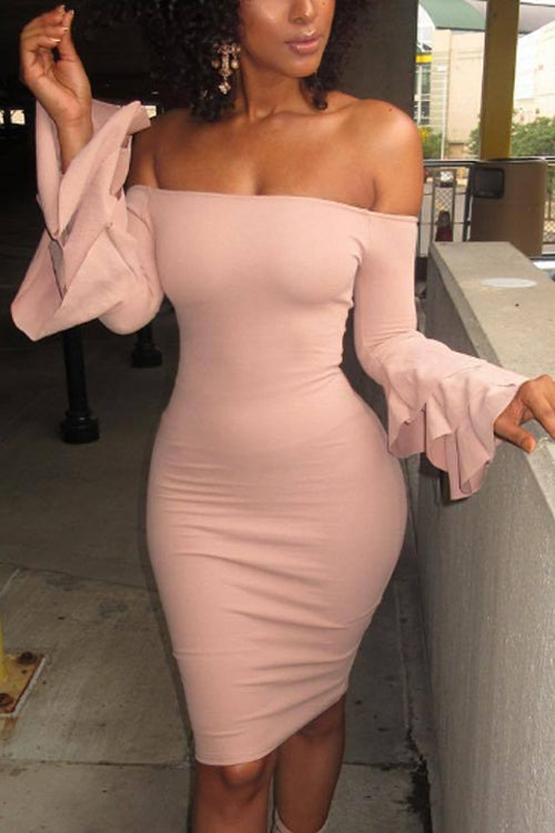 Wearvip Casual Strapless Flare Sleeve Bodycon Midi Dress