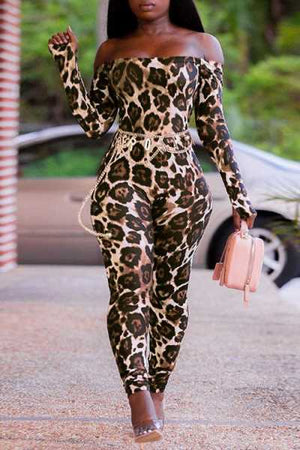 Wearvip Casual Off Shoulder Long Sleeve Leopard Print Jumpsuit (No chain)