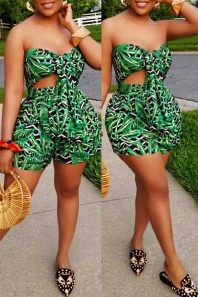 Wearvip Bohemian Strapless Tie Design Floral Print Shorts Sets