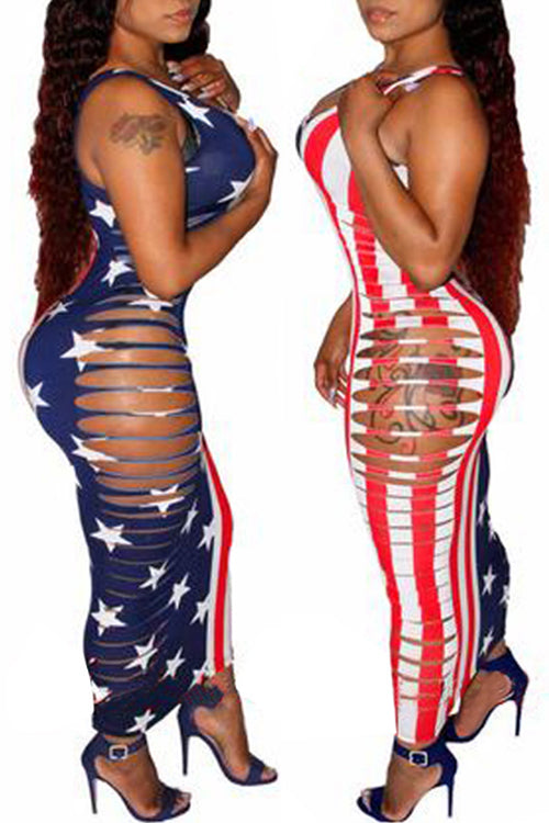 Wearvip Casual Bodycon Flag Print Ripped Maxi Dress