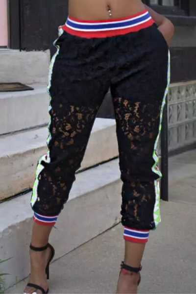 Wearvip Casual Hollow Out Lace 3/4 Pants