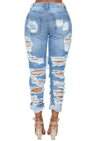 Wearvip Casual Mid Rise High Elastic Distressed Ankle Banded Jeans