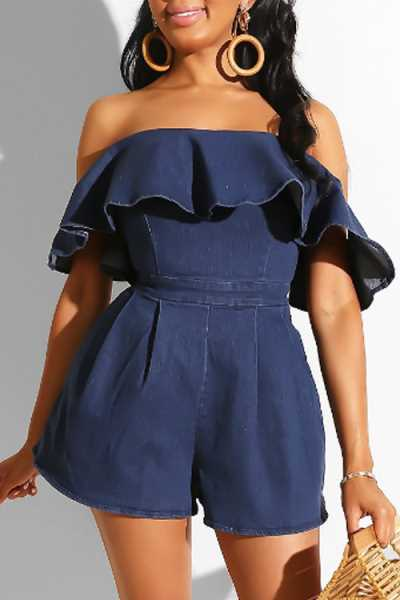 Wearvip Bohemian Strapless Flounce Trim Denim Romper