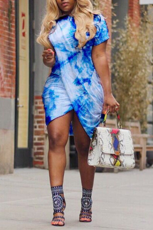 Wearvip Casual Tie Dye Print Split Midi Dress