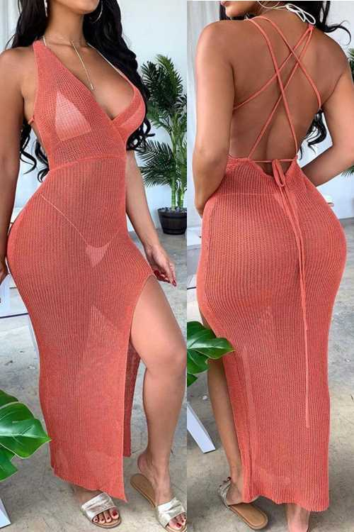 Wearvip Bohemian V-neck Lace Up Backless Perspective Swimdress