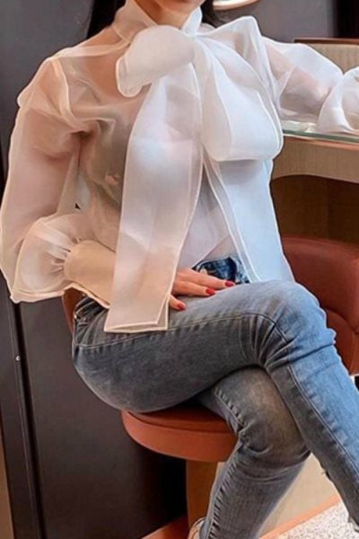 Wearvip OL Bow Knotted Lace Up Stand Collar Puff Sleeve Shirt
