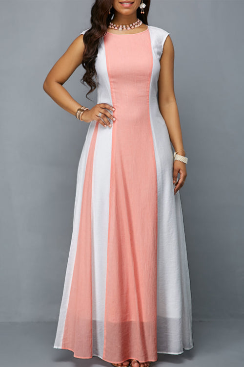 Wearvip Party Sleeveless Color Patchwork Maxi Dress