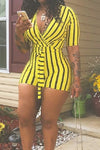 Wearvip Casual Short Sleeve Striped Print Bodycon Romper