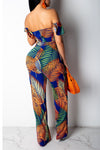 Wearvip Bohemian Strapless Tropical Print Jumpsuit