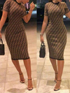 Wearvip Casual Round Neck Printed Midi Dress