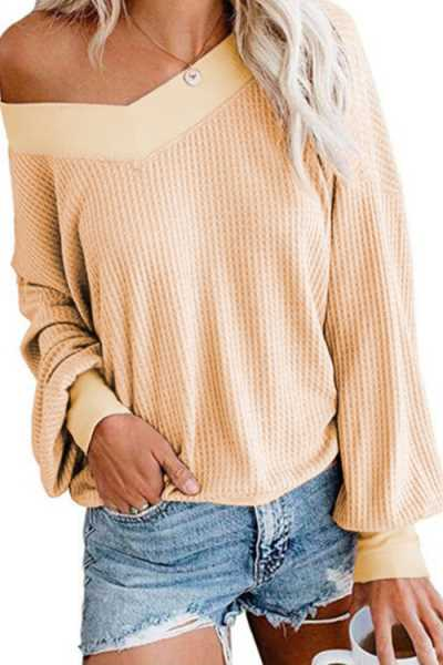Wearvip Casual V-neck Long Sleeve Sweater