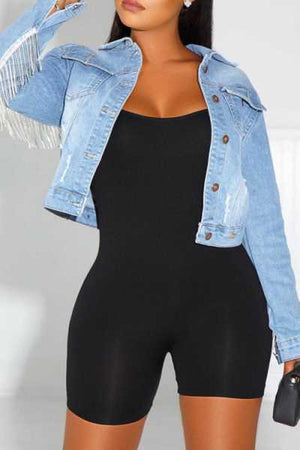 Wearvip Casual Tassel Trim Crop Jean Coat