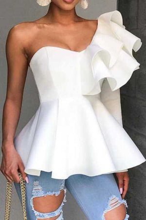 Wearvip OL Single Shoulder Flounce Trim Blouse