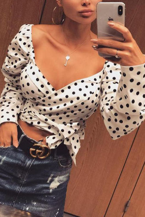 Wearvip Casual Polka Dot Printed Blouse