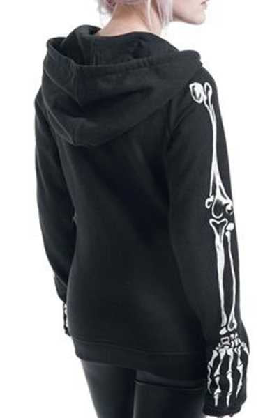 Wearvip Casual Skeleton Print Zip Up Hooded Coat