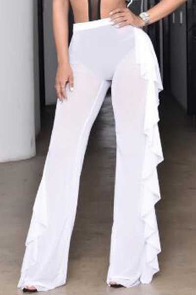 Wearvip Bohemian Flounce Trim See-through Tissue Pants